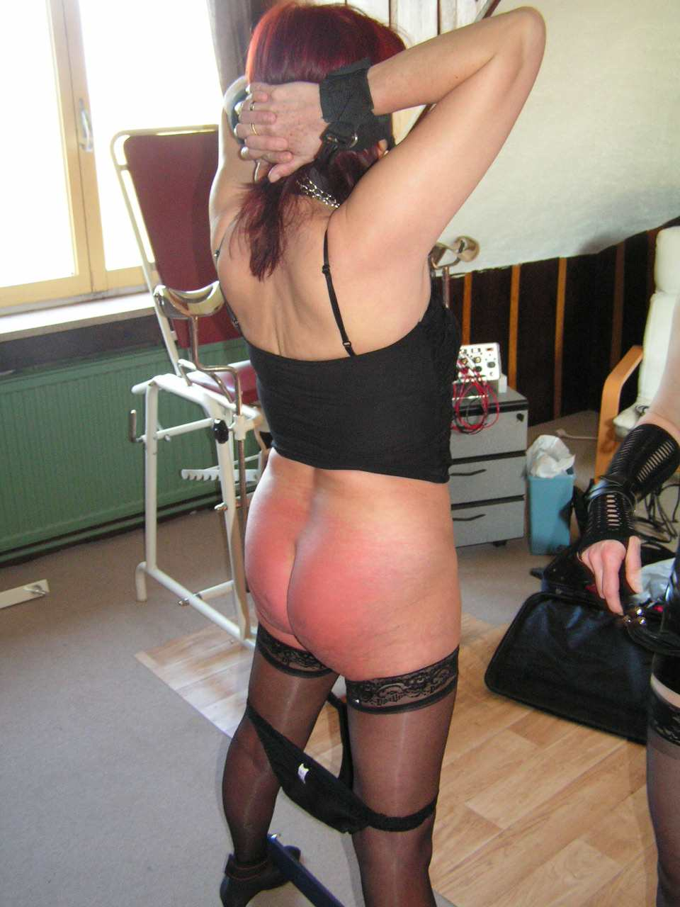 Tied up milf punished with objects
